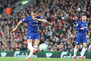 8 Ross Barkley for Chelsea FC shoots on goal  during the EFL Cup match between Liverpool and Chelsea at Anfield, Liverpool, England on 26 September 2018.