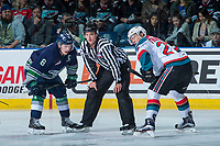 KELOWNA, CANADA - APRIL 30: Scott Eansor #8 of the Seattle Thunderbirds faces off against Calvin Thurkauf #27 of the Kelowna Rockets on April 30, 2017 at Prospera Place in Kelowna, British Columbia, Canada.  (Photo by Marissa Baecker/Shoot the Breeze)  *** Local Caption ***