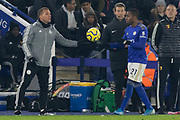 Brendan Rodgers hands the ball to Ricardo Pereira (21) during the Premier League match between Leicester City and Watford at the King Power Stadium, Leicester, England on 4 December 2019.