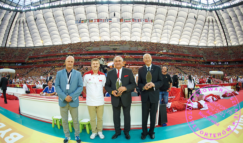 The Special Olympics Unified Volleyball Tournament Delegation before Opening Ceremony of The FIVB Volleyball World Championships at National Stadium in Warsaw on August 30, 2014.<br /> <br /> Poland, Warsaw, August 30, 2014<br /> <br /> For editorial use only. Any commercial or promotional use requires permission.<br /> <br /> Mandatory credit:<br /> Photo by &copy; Adam Nurkiewicz / Mediasport