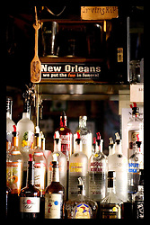 9th Sept, 2005. Hurricane Katrina, New Orleans, Louisiana. The Irony of a sign that hangs behind the bar at Molly's  bar on Decatur Street, the famous French Quarter that bar remained open throughout the days following the storm.