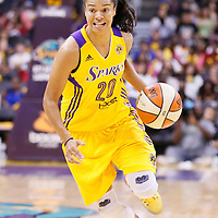 03 August 2014: Los Angeles Sparks guard Kristi Toliver (20) dribbles during the Los Angeles Sparks 70-69 victory over the Connecticut Sun, at the Staples Center, Los Angeles, California, USA.