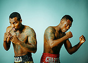 Professional boxers Jermell and Jermall Charlo.<br /> <br /> Portrait by advertising photographer Nathan Lindstrom.