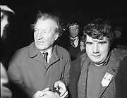 Image of Fianna Fáil leader Charles Haughey touring West Cork during his 1982 election campaign...04/02/1982.02/04/82.4th February 1982..For the Boss:..Someone who is clearly backing Charles Haugheys's team looks to the camera while the attention of the Boss has been diverted. .