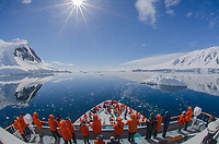 The National Geographic Orion cruising through the Gullett in Antarctica on a perfect day.
