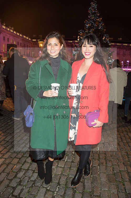 Left to right, JASMINE HEMSLEY & MELISSA HEMSLEY at the launch of Skate at Somerset House in association with Fortnum & Mason held at Somerset House, The Strand, London on 17th November 2015.