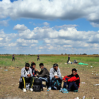 Refugees being held in a field close to Röszke, by Hungarian police, visible behind.  Refugees, mostly from Syria and Afghanistan, walked through a hole in the border fence with Serbia.  The official border reception centres are full and refugees must camp on the ground, dependent mostly on food donated by volunteer groups.