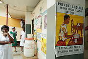 Ghana: 25 April 2012, Poster promoting hand-washing for the prevention of cholera at the Princess Marie Louise Children's hospital in Accra. The GAVI Alliance is a public-private partnership that brings together developing country and donor governments, WHO, UNICEF, the World Bank, the vaccine industry in both industrialised and developing countries, research and technical agencies, civil society, the Bill & Melinda Gates Foundation and other private philanthropists.  Set up in 2000 as the Global Alliance for Vaccines and Immunisation, GAVI's mission is to save children's lives and protect people's health by increasing access to immunisation in the world's poorest countries.