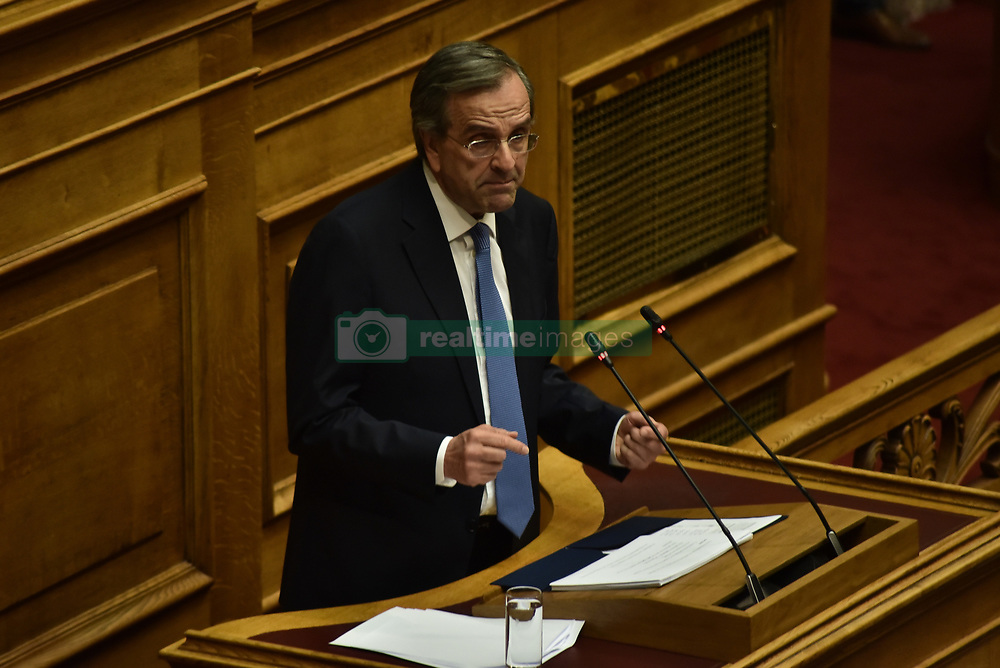 June 16, 2018 - Athens, Attiki, Greece - Former Greek Prime Minister Antonis Samaras and deputy of New Democracy party, during his speech in Hellenic Parliament. (Credit Image: © Dimitrios Karvountzis/Pacific Press via ZUMA Wire)