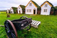 Iceland. Turf farmhouse at Glaumbær Folk Museum.