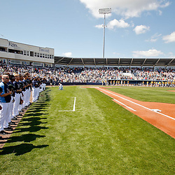 February 26, 2011; Port Charlotte, FL, USA; Tampa Bay Rays players stand during the national anthem prior to a spring training exhibition game against the Pittsburgh Pirates at Charlotte Sports Park.  Mandatory Credit: Derick E. Hingle