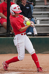 15 April 2012:  Caiti Kopp during an NCAA women's softball game between the Drake Bulldogs and the Illinois State Redbirds on Marian Kneer Field in Normal IL