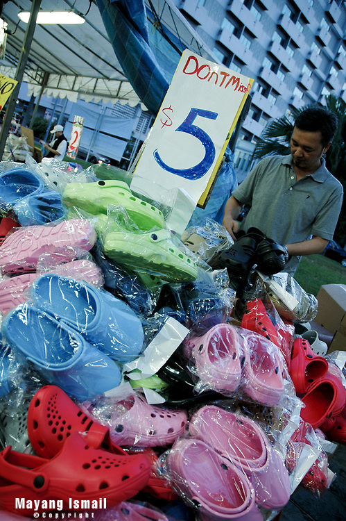 Slippers sold at an open market in Geylang, Singapore