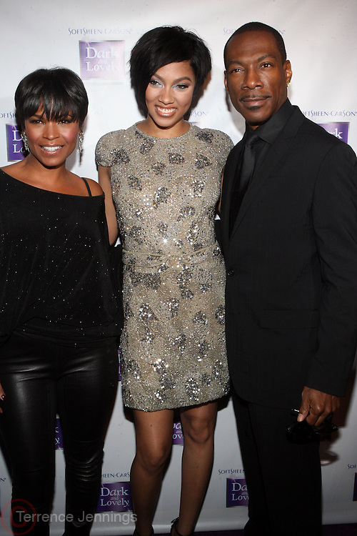 18 January 2011- New York, NY- l to r: Nia Long, Bria Murphy and her Father, Eddir Murphy at The SoftSheen-Carson announcement of Bria Murphy as its new Global Brand Ambassador and launch of New Dark and Lovely Healthy-Gloss 5 Relaxer and Maintenance Haircare System held at the Juliet Supperclub on January 18, 2011 in New York City. Photo Credit: Terrence Jennings