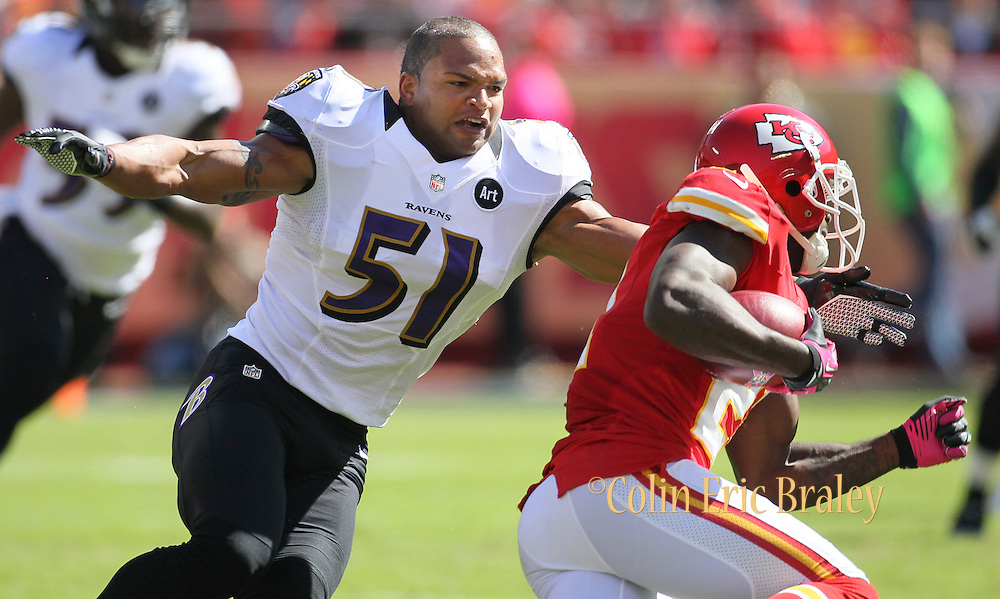 of an NFL football game, Sunday, Oct. 7, 2012, in Kansas City, MO. (AP Photo/Colin E Braley)