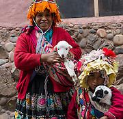 A woman, child, and baby Llamas, Cuzco, Peru.