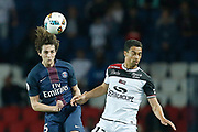 Paris Saint-Germain's French midfielder Adrien Rabiot heads the ball during the French Championship Ligue 1 football match between Paris Saint-Germain and EA Guingamp on April 9, 2017 at Parc des Princes stadium in Paris, France - Photo Benjamin Cremel / ProSportsImages / DPPI