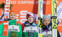 21.02.2016, Salpausselkae Schanze, Lahti, FIN, FIS Weltcup Ski Sprung, Lahti, Herren, Siegerehrung, im Bild v.l.: Karl Geiger (GER, 2. Platz), Sieger Michael Hayboeck (AUT), Taku Takeuchi (JPN, 3. Platz) // f.l.: Karl Geiger of Germany, Winner Michael Hayboeck of Austria, 3rd placed Taku Takeuchi of Japan during Winner Award Ceremony of Mens FIS Skijumping World Cup of the Lahti Ski Games at the Salpausselkae Hill in Lahti, Finland on 2016/02/21. EXPA Pictures © 2016, PhotoCredit: EXPA/ JFK
