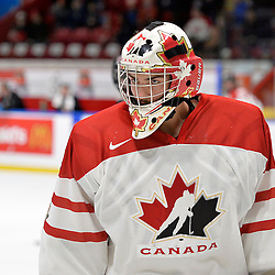 WHITBY, - Dec 14, 2015 -  Game #4 - Russia vs. Canada East at the 2015 World Junior A Challenge at the Iroquois Park Recreation Complex, ON. Colton Point #1 of Team Canada East during the pre-game warm-up.<br /> (Photo: Shawn Muir / OJHL Images)