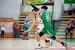 Paolo Marinelli of KK Krka and Yusuf Sanon of KK Petrol Olimpija Ljubljana during basketball match between KK Krka Novo mesto and  KK Petrol Olimpija in 2nd Final game of Liga Nova KBM za prvaka 2017/18, on May 22, 2018 in Sports hall Leona Stuklja, Novo mesto, Slovenia. Photo by Urban Urbanc / Sportida