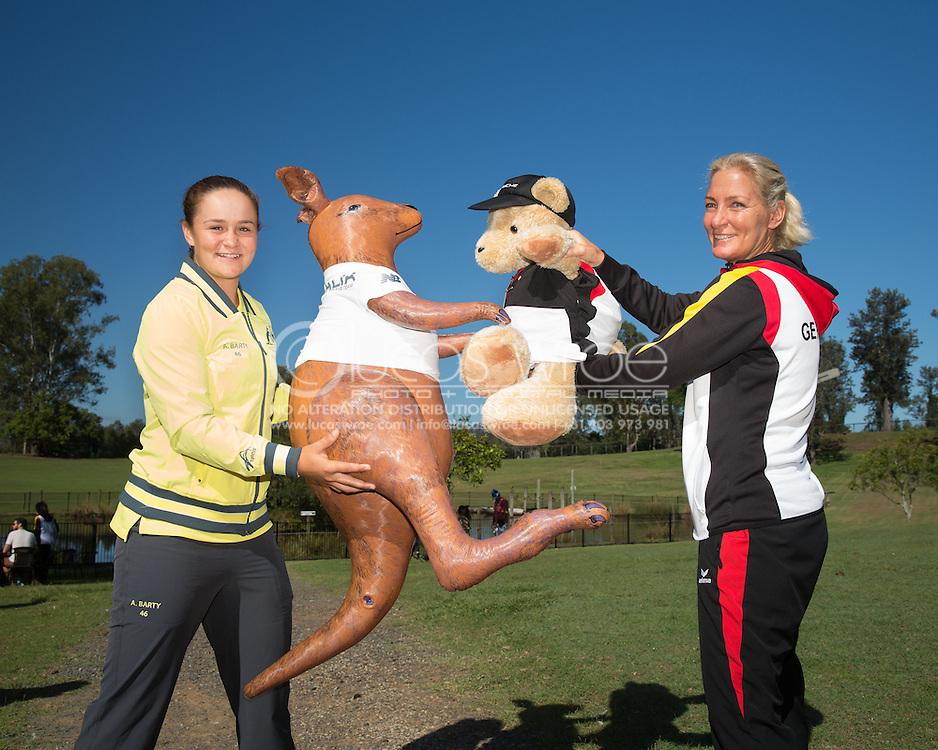 Ashleigh Barty (AUS) and Barbara Rittner (GER), April 18, 2014 - TENNIS : Fed Cup, Semi-Final, Australia v Germany. Lone Pine Koala Sanctuary, Brisbane, Queensland, Australia. Credit: Lucas Wroe