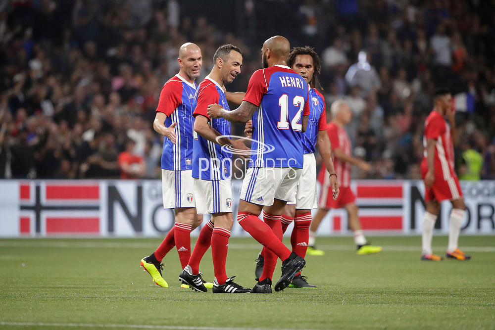 Youri Djorkaeff (France 98) celebrated the goal scored by Thierry Henry (France 98), Zinedine Zidane (France 98), Christian Karembeu (France 98) during the 2018 Friendly Game football match between France 98 and FIFA 98 on June 12, 2018 at U Arena in Nanterre near Paris, France - Photo Stephane Allaman / ProSportsImages / DPPI