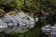 Olney Creek flows through a narrow gorge in the Snoqualmie National Forest near Sultan, Washington.
