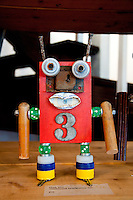 Long Island, New York. West Hampton outsider art exhibition - robot figure by Mark May.