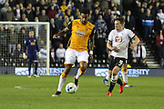 Hull midfielder Tom Huddlestone wins the ball during the Sky Bet Championship match between Derby County and Hull City at the iPro Stadium, Derby, England on 5 April 2016. Photo by Aaron  Lupton.