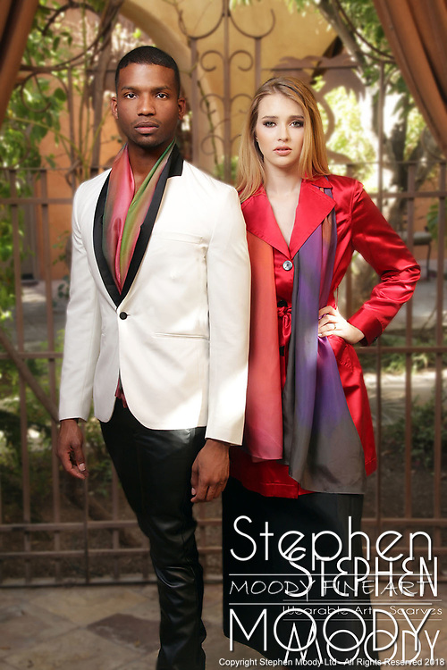 """Mens and Womens Silk Scarves - Wearable Art Catalog, designed by artist Stephen Moody in Scottsdale, AZ from the artwork """"Art In Its Most Human Form""""TM.  Moody's art is available for purchase on Canvas, watercolor paper and silk wearable art."""