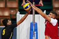 Katowice, Poland - 2017 September 01: (R) Partner Peter Malachovsky from SO Slovakia blocks the ball against (L) partner Kanan Mustafayev from SO Azerbaijan while SO Azerbaijan v SO Slovakia match during European Unified Volleyball Tournament 2017 at Spodek Hall on September 01, 2017 in Katowice, Poland.<br /> <br /> Adam Nurkiewicz declares that he has no rights to the image of people at the photographs of his authorship.<br /> <br /> Picture also available in RAW (NEF) or TIFF format on special request.<br /> <br /> Any editorial, commercial or promotional use requires written permission from the author of image.<br /> <br /> Image can be used in the press when the method of use and the signature does not hurt people on the picture.<br /> <br /> Mandatory credit:<br /> Photo by © Adam Nurkiewicz / Mediasport