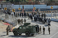 United States Military personel and Border Patrol agents secure the United States-Mexico border on Sunday, November 25, 2018. A group of Honduran migrants amassed at the border which prompted the U.S. to close the border in both directions.