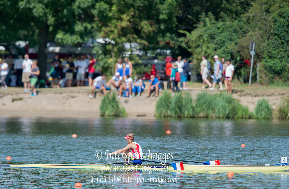 Hamburg. GERMANY.   Friday, Morning Quarter Finals. 4th Q/F. FRA JW1X. going on the win at the 2014 FISA Junior World rowing. Championships.  13:49:32  Friday  08/08/2014  [Mandatory Credit; Peter Spurrier/Intersport-images] 2014. Empacher. Hamburg.