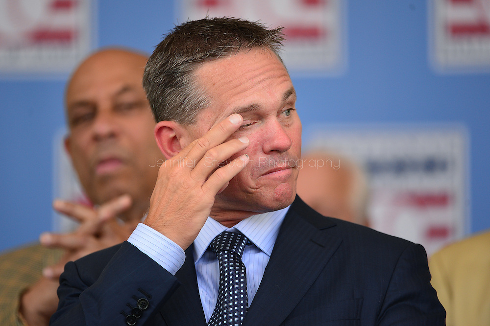 COOPERSTOWN, NY - JULY 26: Hall of Fame inductee Craig Biggio reacts during the Induction Ceremony at National Baseball of Hall of Fame on July 26, 2015 in Cooperstown, New York. (Photo by Jennifer Stewart/Arizona Diamondbacks/Getty Images)