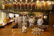 "Park Hyatt Hotel. The chefs of ""Opera"" Italian restaurant in their open kitchen."