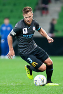 Melbourne City defender Scott Jamieson (3) controls the ball downfield at the FFA Cup Round 16 soccer match between Melbourne City FC v Newcastle Jets at AAMI Park in Melbourne.