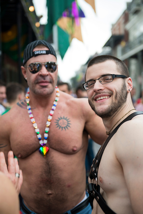 Men celebrate Fat Tuesday in the French Quarter of New Orleans, Lousiana.
