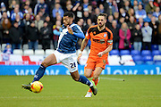 Ipswich Town defender Luke Chambers tracks Birmingham City midfielder David Davis during the Sky Bet Championship match between Birmingham City and Ipswich Town at St Andrews, Birmingham, England on 23 January 2016. Photo by Alan Franklin.