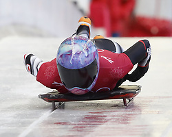 February 12, 2018 - Pyeongchang, KOREA - Mirela Rahneva (CAN) at the ladies skeleton training during the Pyeongchang 2018 Olympic Winter Games. (Credit Image: © David McIntyre via ZUMA Wire)