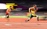 Oscar Pistorius, of South Africa, right, competes in the men's 400-meter track competition at the 2012 Summer Olympic Games in London, Aug. 5, 2012. Pistorius did not qualify. (Jed Jacobsohn/The New York Times).