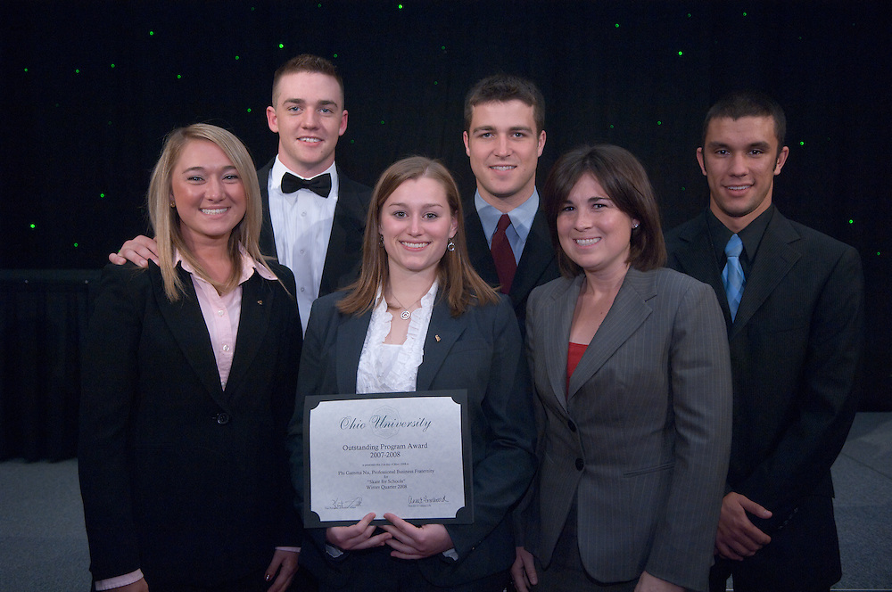 1890525th Annual Leadership Awards Gala..Outstanding Student Organization Programming Awards..Winter 2008..Phi Gamma NU..Claudia Reagan, Rick McKenney, Jackie Miltner, Jay Simmons, Amy Neumann, Corey Poches