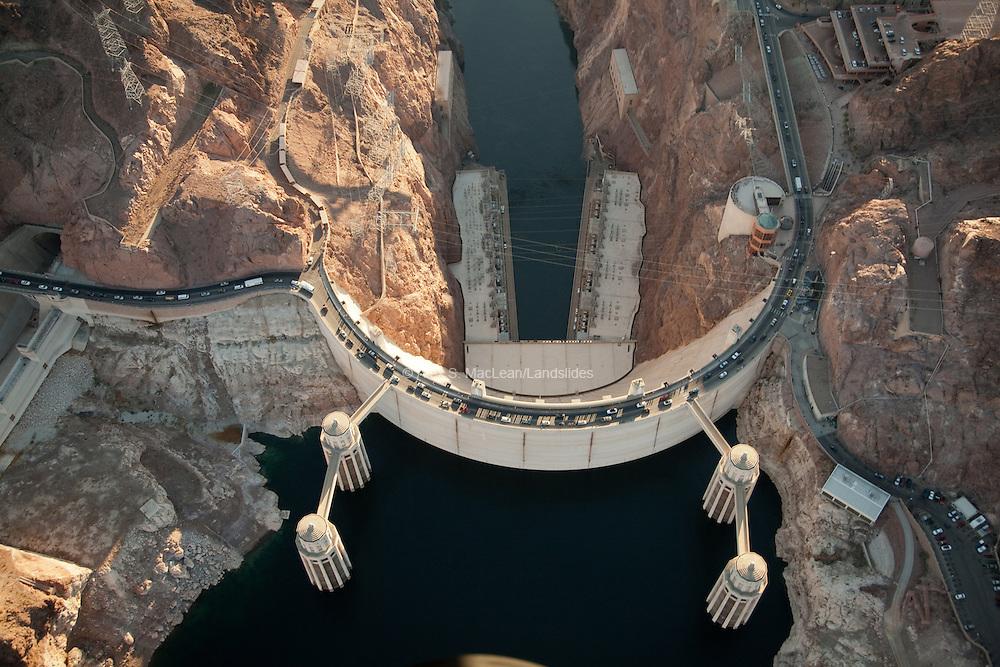 Hoover Dam, bypass towers, spillway tunnel, power house below