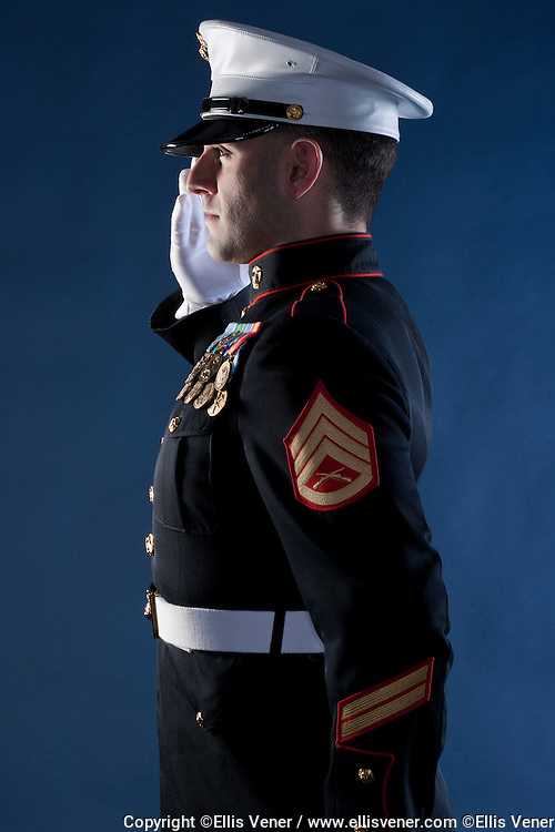 Portrait of United States Marine Corps Staff Sergeant J. Menes in his Dress Blues uniform