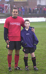 SCOTT GOODWIN WITH MASCOT,   Kettering Town v Scarborough  Conference  Rockingham Toad, 14th Decemberr 2002