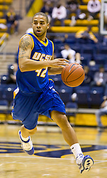 December 28, 2009; Berkeley, CA, USA;  UC Santa Barbara Gauchos guard James Powell (42) during the second half against the Furman Paladins at the Haas Pavilion.  UC Santa Barbara defeated Furman 72-60.