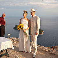 A wedding ceremony at the top of Srd Hill overlooking Dubrovnik and the Adriatic Sea, Croatia.