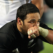 Piri Weepu kisses the writing on his wrist bandaging after scoring a try during the New Zealand V Fiji Rugby Union test match at Carisbrook, Dunedin. New Zealand. 22nd July 2011. Photo Tim Clayton