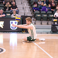 4th year setter Michael Corrigan (11) of the Regina Cougars in action during Men's Volleyball home game on February 10 at Centre for Kinesiology, Health and Sport. Credit: Arthur Ward/Arthur Images