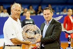 Gerry Armstrong, ATP Superviso and Vanja Bozickovic, tournament director during flower ceremony after final of singles at 25th Vegeta Croatia Open Umag, on July 27, 2014, in Stella Maris, Umag, Croatia. Photo by Urban Urbanc / Sportida