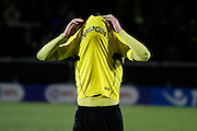 Burton Albion midfielder Lasse Vigen Christensen (24) reacts as his last minute stoppage-time strike hits both posts and is eventually saved by Blackburn Rovers goalkeeper Jason Steele (1) during the EFL Sky Bet Championship match between Burton Albion and Blackburn Rovers at the Pirelli Stadium, Burton upon Trent, England on 24 February 2017. Photo by Richard Holmes.